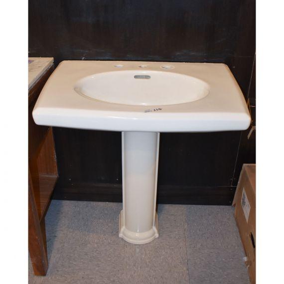 Three-Hole White Pedestal Sink