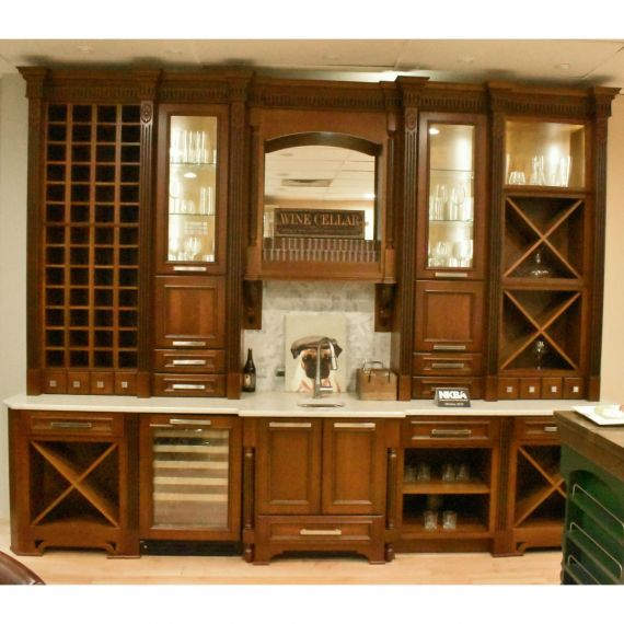 Cherry Stained Traditional Showroom Display Wet Bar