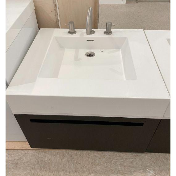 "Wetstyle 24"" Modern Wall-Mount Single Vanity W/ Stone Top & Faucet"