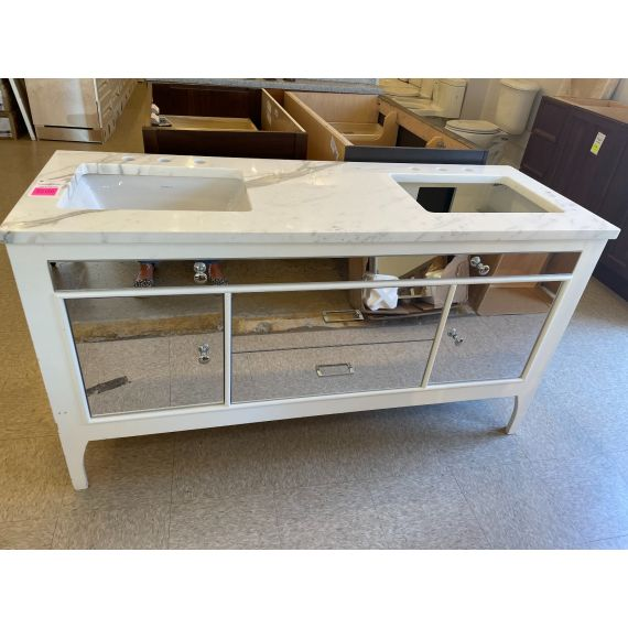 """60"""" White Mirrored Double Vanity w/ Marble Top"""