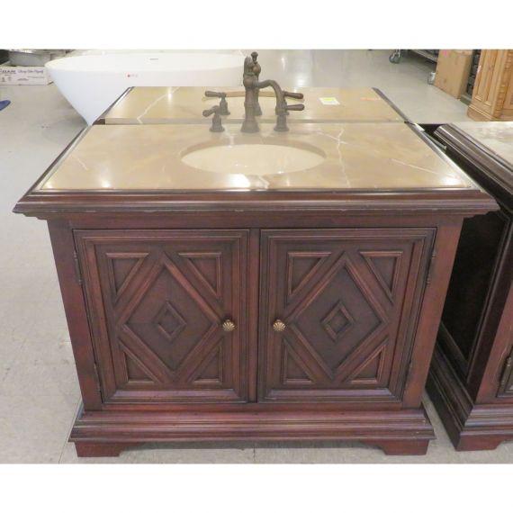 Walker Zanger Single Wooden Vanity w/ Marble Top