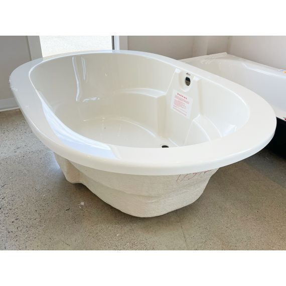 """Americh 66"""" Biscuit Lucite Wide Oval Tub & Drain"""