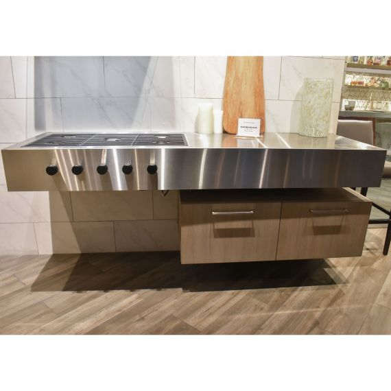 Stainless Transitional Floating Showroom Display Cooking Zone