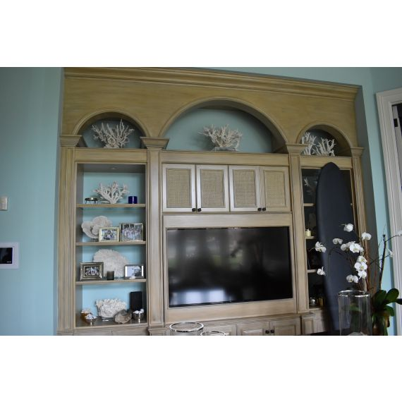 Weathered Wood Styled Built In Entertainment Area