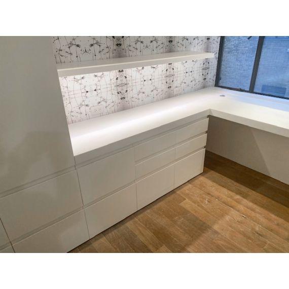 White Modern Desk Area w/ Corian Top & Floating Shelf
