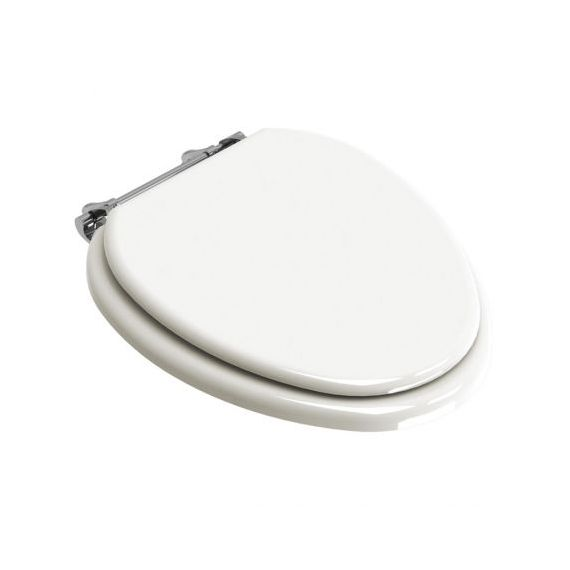 Lefroy Brooks Classic White Elongated Toilet Seat w/ Polished Chrome Bar Hinge