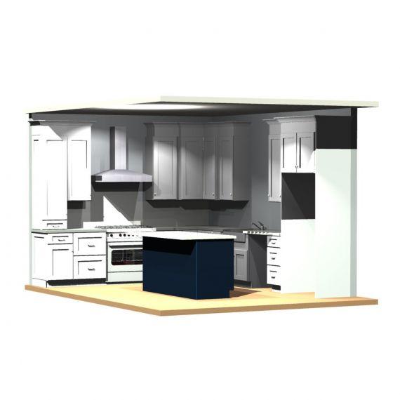 Covered Bridge Fresh Snow & Deep Sea Transitional New-In-Box Kitchen