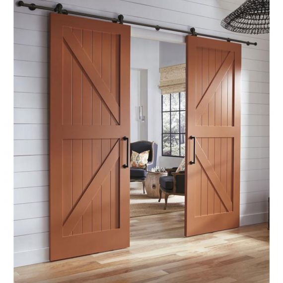 New-In-Box TruStile V-Groove Walnut Stained Barn Doors