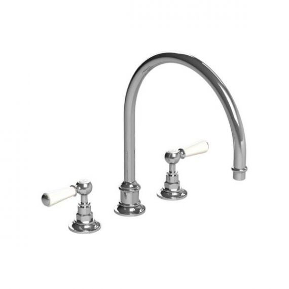 Lefroy Brooks Silver Nickel Dual White Lever Kitchen Faucet