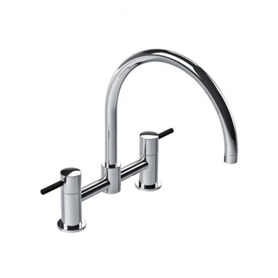 Lefroy Brooks Chrome Dual Black Lever Kitchen Faucet